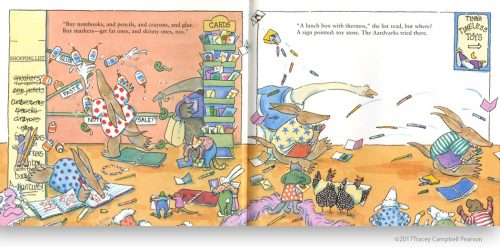 Awful-Aardvarks-Shop-for-School-illustrated-by-Tracey-Campbell-Pearson-interior-spread-1