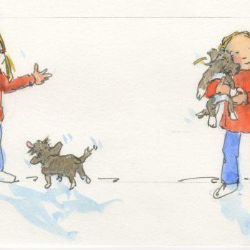 girl and dog-sketch